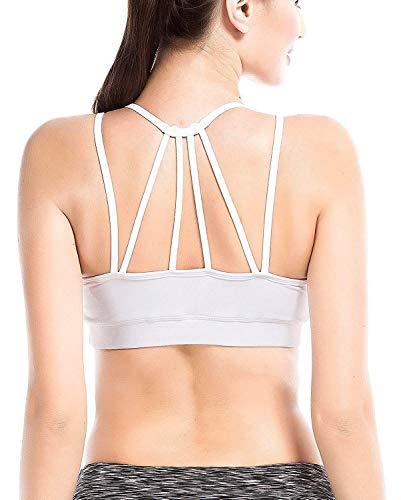 YIANNA Damen Sport BH Seamless mit Einlagen Elastisch Running Yoga Bra Abnehmbare Gepolsterte Crop Top,UK-YA-BRA146-White-S
