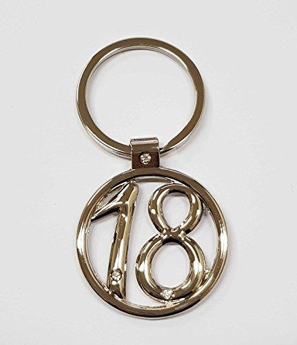 Takestop® set 12 pezzi bomboniera bomboniere acciaio brillantini 18 anni compleanno glitter portachiavi portachiave porta chiave chiavi