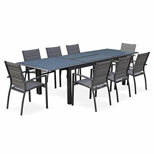 Alice's Garden - Salon de jardin table extensible - Philadelphie Gris anthracite - Table en aluminium 200/300cm, plateau de verre, rallonge et 8 fauteuils en textilène
