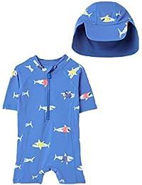 Joules Sun - Juego de baño (2 piezas), diseño de tiburones azules