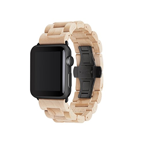 Woodcessories - EcoStrap - Premium Holzband, Strap, Armband, Uhrenarmband für die Apple Watch 1, 2, 3 & 4, echtes Holz (Ahorn / schwarz, 42 / 44 mm)