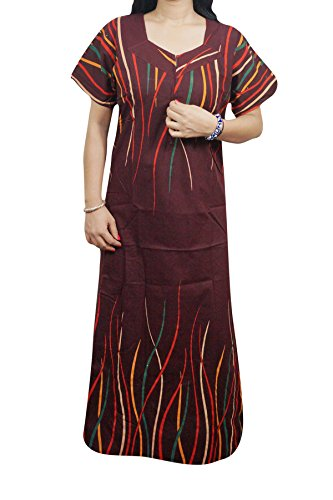 Indiatrendzs Women Nighty Cotton Maroon Sleepwear Maxi Night Dress 44