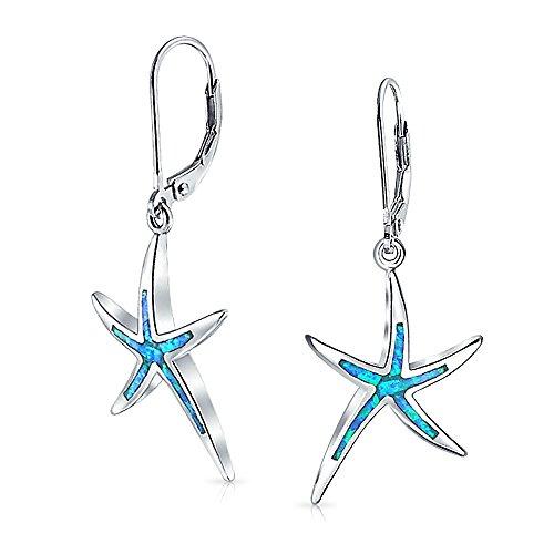 Blue Opal Inlay Nautische Ocean Leben Im Meer Seestern Tropfen Ohrringe Leverback Für Damen Sterling Silber Erstellt