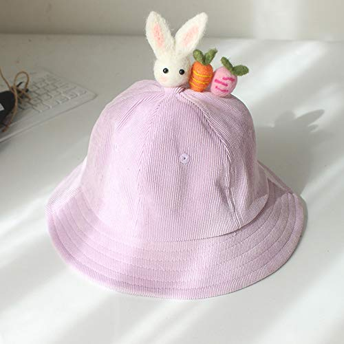 mlpnko Fischerhut Eltern-Kind-Mütze Bonnet Cord Babymütze Rabbit Love Radish - Lila 50cm