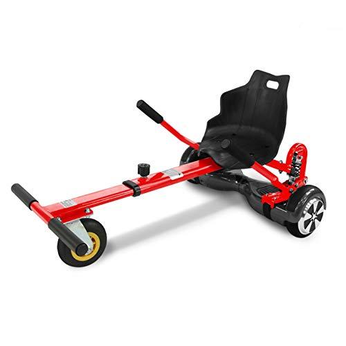 "Hoverkart mit LED-Beleuchtung für Balance Scooter E-Scooter Hoverseat mit Federung GoKart Sitz (6,5\"" / 8,0\"" / 10\"") verstellbar (rot)"