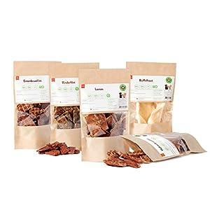 Barf-Trockenfleisch für Hunde, Dörrfleisch, PETS DELI Trockenfleisch 5x 100g, verschiedene Sorten (Känguru, Hühnerbrustfilet, Rinderfilet, Entenbrustfilet, Strauß) gesunder Snack für Hunde und Katzen, 100% pures Premium-Fleisch, luftgetrocknet, aus