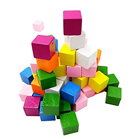 Sharplace 25 Pieces Assorted Wooden Shapes Blocks Cube Embellishments for