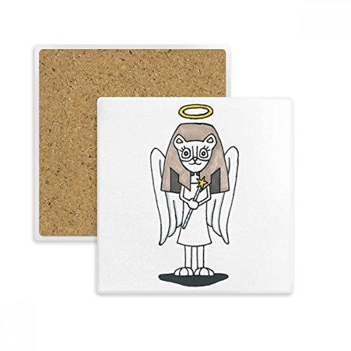 DIYthinker Engel Bastet Flügel Halo Stern-Quadrat-Coaster-Schalen-Becher-Halter Absorbent Stein für Getränke 2ST Geschenk Mehrfarbig