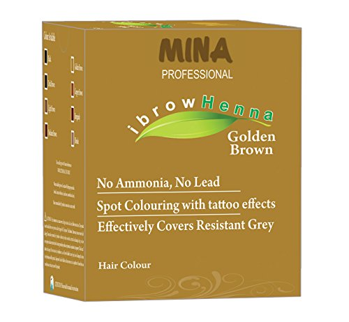 Mine Professional ibrow Henna Dark Brown Refill Pack & Tinting Kit for Eyebrow Henna 12GM Golden Brown -