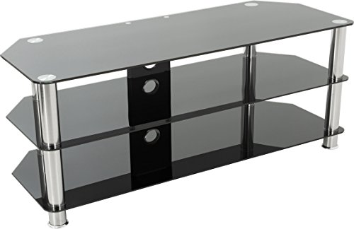 AVF Universal Black Glass and Chrome Legs TV Stand For up to 60 inch TVs Best Price and Cheapest