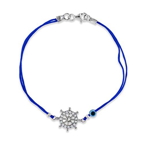 Tuscany Silver Blau Kordel Armband Sterling Silber Weiß -