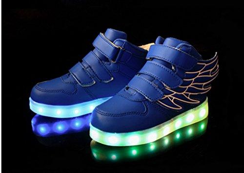 ACME - Unisexe Enfant Baskets Lumineuses Chaussures de Sport Clignotantes avec 7 Couleurs LED Colorés USB rechargeable Style d'ailes d'ange pour Fille Garçon Bleu Froncé