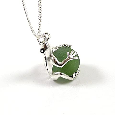 Kelly Green Sea Glass Marble in Silver Frog Locket Necklace