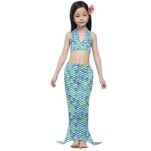 Lonchee niedlich Mädchen Meerjungfrau Schwimmanzug Badeanzüge Bikini 3-Teile-Set Bikini Kostüm Badeanzug Bademode Neckholder für Kinderschwimmen Schwimm Cosplay (Kinder Undertaker Kostüme)