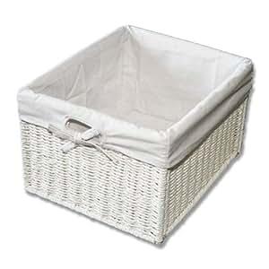 kmh panier de rangement pratique aspect rotin blanc. Black Bedroom Furniture Sets. Home Design Ideas