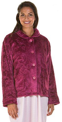 - 41kwSNYBaOL - Ladies Womens Fleece Bed Jacket Luxury Flannel Embossed Pattern Penny Collar Navy Blue Maroon Size UK 10 12 14 16 18 20 22 24