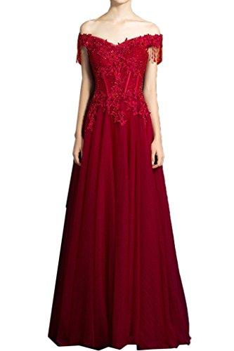 Ivydressing Damen Elegant Ab von der Schulter Perlen Spitze Partykleid Promkleid Festkleid Abendkleid Weinrot