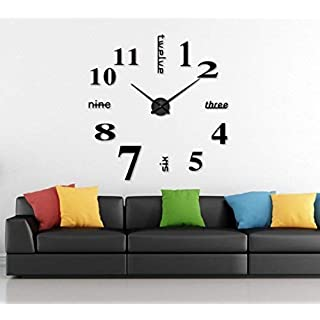 Alicemall Large Black 3D Frameless Wall Clock Stickers DIY Wall Decoration for Living Room Bedroom(Style 4)