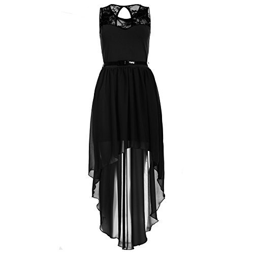 Womens Ladies Assymetric Dip Hem High Low Lace Chiffon Belted Mixi Midi Dress /COLOR: BLACK /SIZE: 20