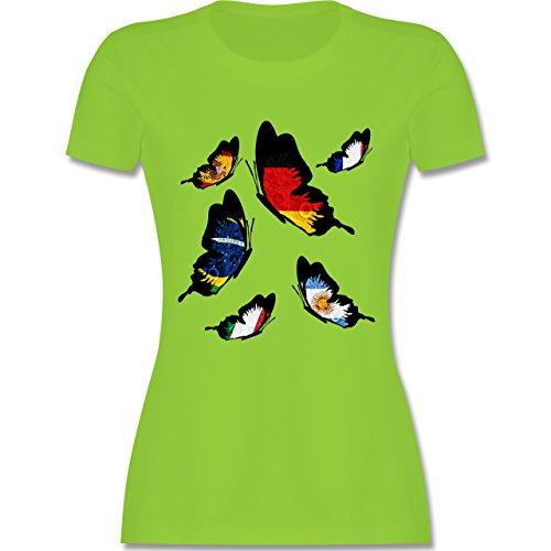 Länder - WM 2014 Länder Schmetterlinge - tailliertes Premium T-Shirt mit Rundhalsausschnitt für Damen Hellgrün