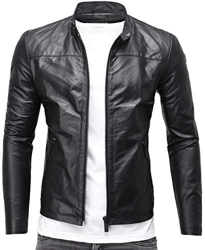 CRONE Epic Herren Lederjacke Cleane Leichte Basic Jacke aus weichem Schafs-Leder (L, Schwarz)