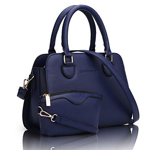 fanhappygo Damen Handtasche Schultertasche Tasche Large Umhängetasche Entwerfer Shopper Henkeltasche set blau