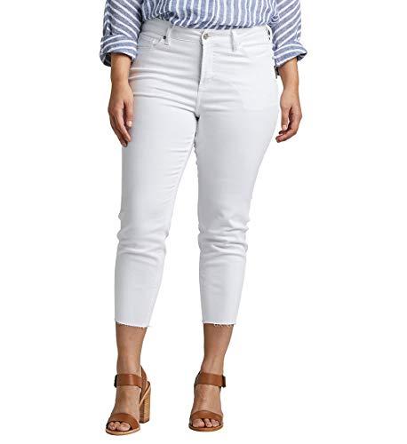 Silver Jeans Co. Damen Plus Size Avery High-Rise Curvy Skinny Crop Jeans, White raw Hem, 24W x 25L (Miss Me Bootcut Jeans)