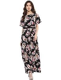Harpa Dark Florals Maxi Dress (GR3765-BLACK)