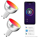 GU10 Lampadina Wifi Intelligence Smart 5W=50W Faretto Lampadine LED Colorate Avatar Controls RGBW Dimmerabile Telecomando APP compatibile con Ale xa / Google Assistant / IFTTT(2)