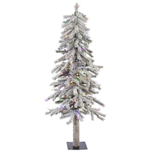 Vickerman 2'beflockt Alpine Künstlicher Weihnachtsbaum mit 50klare Lichter, Multi-colored Led Lights, 122 cm