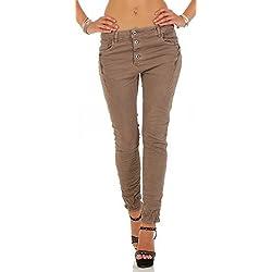 KAROSTAR Damen Chino Jeans Boyfriend Damenhose Damenjeans Pump Pants CL 357 (44, Schlamm)