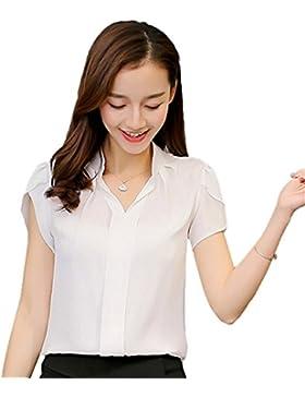 ECYC Top Blusa Gasa Verano Mujer Tops, Talla Grande S-XXXL Camiseta Manga Corta