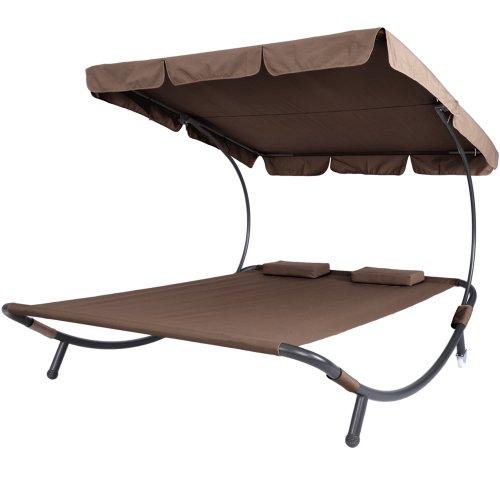 Miadomodo Lettino da giardino 2 posti con schienale e tetto parasole colore a scelta (marrone)