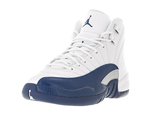 Nike Air Jordan 12 Retro Bg, Chaussures de Sport Garçon Blanc / Bleu / Argenté (White / Frnch Bl-Mtllc Slvr-Vrst)