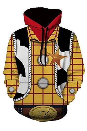 Toy Woody Kostüm Herren Story - MingoTor Herren Damen Woody Toy Geschichte Story 4 3D Hoodie Kapuzenjacke Unisex