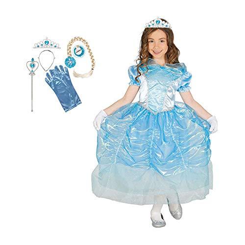 PartyMarty Kostüm-Set Schneeprinzessin bestehend aus 1 x hellblauem -