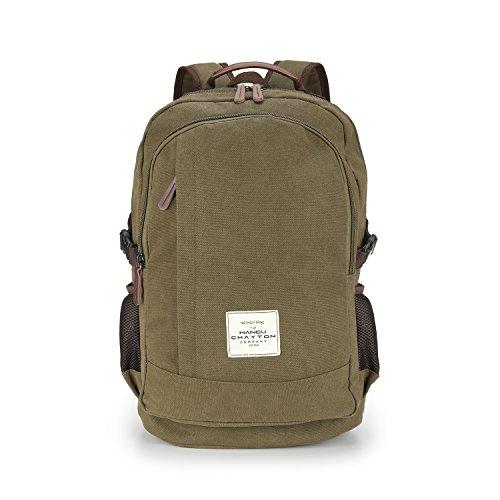MANCU CHAYTON Canvas Rucksack für Herren und Damen - Hochwertiger Unisex Tagesrucksack mit praktischen Gummischlaufen - 30l Vintage - Schu...