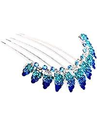 Para peinarla boda peine pelo de oro brillantes de color turquesa-azul (HK003turq)
