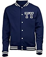 PERSONALISED COLLEGE JACKET WITH FRONT INITIAL PRINT (NAVY) by 123t