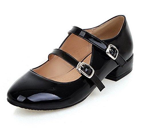 VogueZone009 Femme Boucle Carré à Talon Bas Pu Cuir Couleur Unie Chaussures Légeres Noir