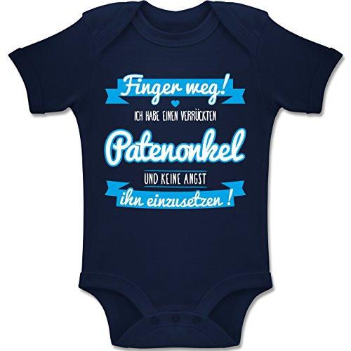 Shirtracer Sprüche Baby - Ich Habe einen verrückten Patenonkel blau - 6/12 Monate - Navy Blau - BZ10 - Baby Body Kurzarm für Jungen und Mädchen