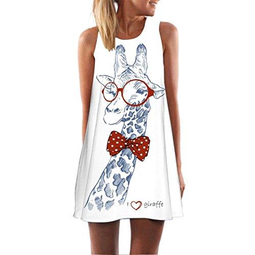 VEMOW Frauen Damen Sommer ärmellose Blume Gedruckt Tank Top Casual Schulter T-Shirt Tops Blusen Beiläufige Bluse(Y3weiß 6, EU-48/CN-2XL)