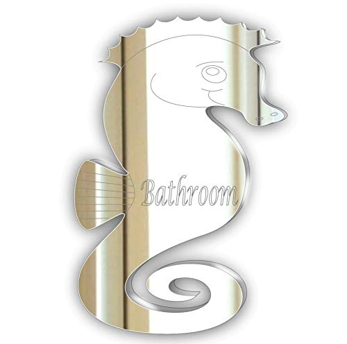 Bathroom Door Plaque/SignGlass Effect Acrylic Mirror - Etched Seahorse ** Unique Signage ** -