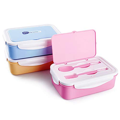Scatola per il pranzo riutilizzabile, doppi livelli con 3 scomparti, scatole bento riutilizzabili contenitori per alimenti a prova di perdite con stoviglie bpa gratuito per bambini, adulti,blue