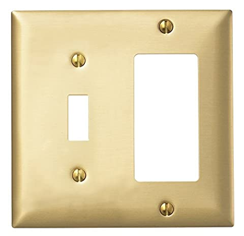 Hubbell Wiring Systems SB126 tradeSELECT Brass Combination Standard Wall plate, 2-Gang, 1-Toggle, 1-Decorator, 4-23/32