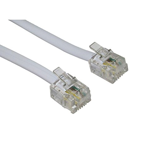 World of Data 10m ADSL Cable - Premium Quality / Gold Plated Contact Pins / High Speed Internet Broadband / Router or Modem to RJ11 Phone Socket or Microfilter / White by World of Data 10m Gold Plated
