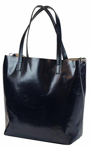 BZNA Berlin Rena XXL Luxus Shopper ECHT LEDER Tasche Ledertasche Damentasche Dunkelblau IT Leather