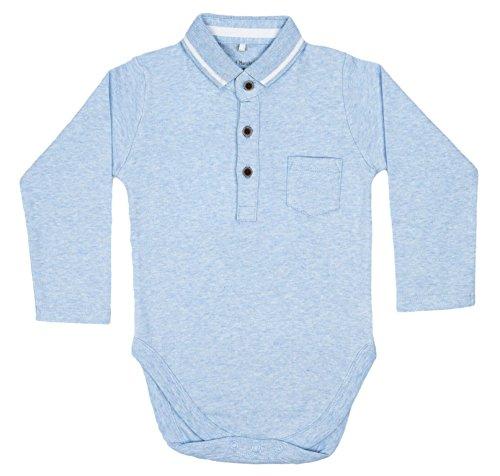 Polo romper sky blue long sleeve romper bodysuit