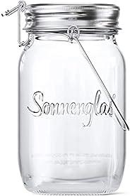 SONNENGLAS® Originale, Lanterna solare LED in Barattolo da Conserva, lampada da tavolo (con USB), Commercio eq