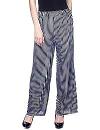 ALIYAA Casual wear comfertable Women's Striped Black and White Plazzo/Trouser
